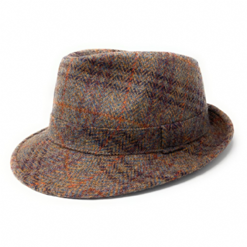 Brown Wool Check Tweed Trilby Hat - Winstone